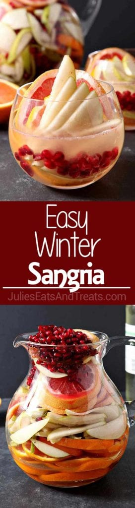 Collage with top image of a glass of sangria with pomegranate and other fruits in it, middle red banner with white text reading easy winter sangria, and bottom image of a glass pitcher of winter sangria and fruit