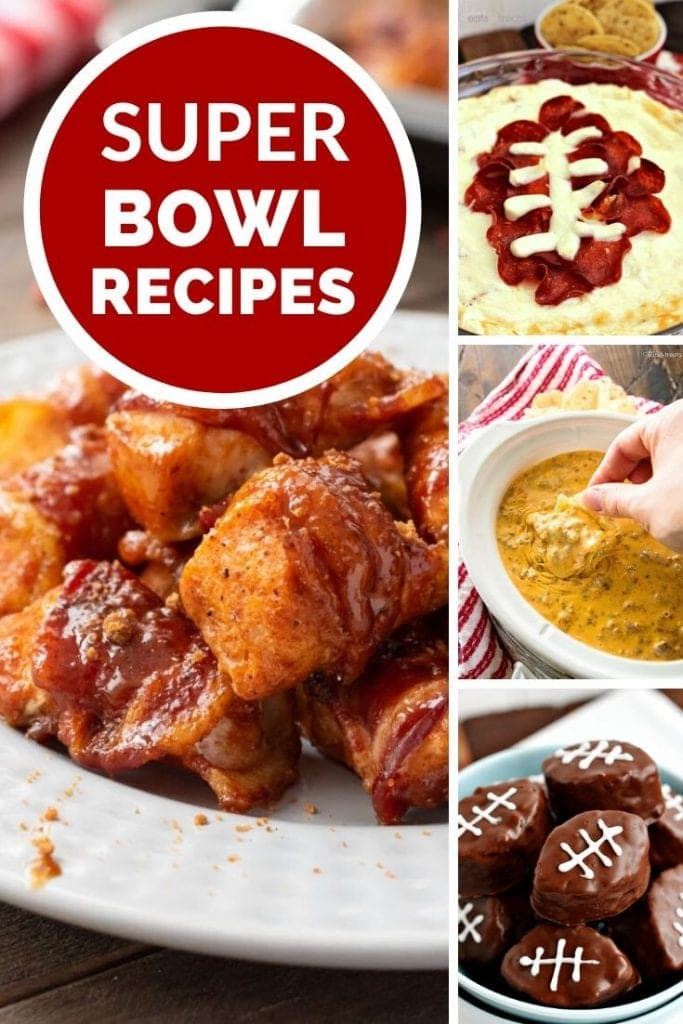 Four images of appetizers with a red circle reading super bowl recipes
