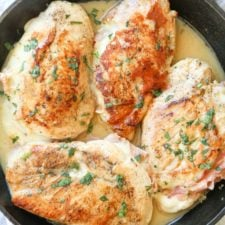 Recipe for Chicken Breast stuffed with Ham & Cheese in a lemon butter sauce.