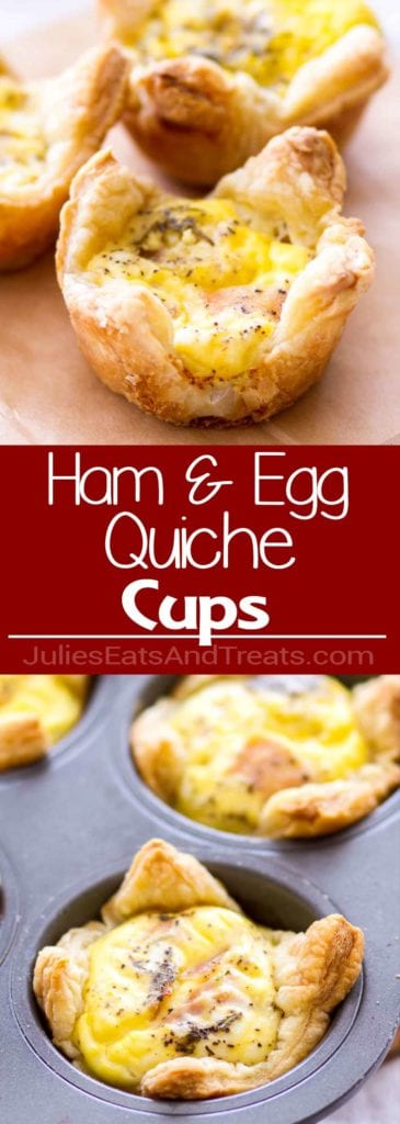 Collage with top image of three quiche cups on brown paper, middle red banner with white text reading ham and egg quiche cups, and bottom image of quiche cups in a muffin tin
