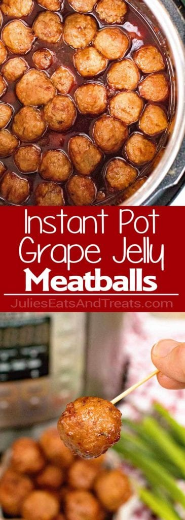 Meatballs with grape jelly in an instant pot, middle red banner with white text reading instant pot grape jelly meatballs, and bottom image of a hand holding a toothpick with a meatball on the end