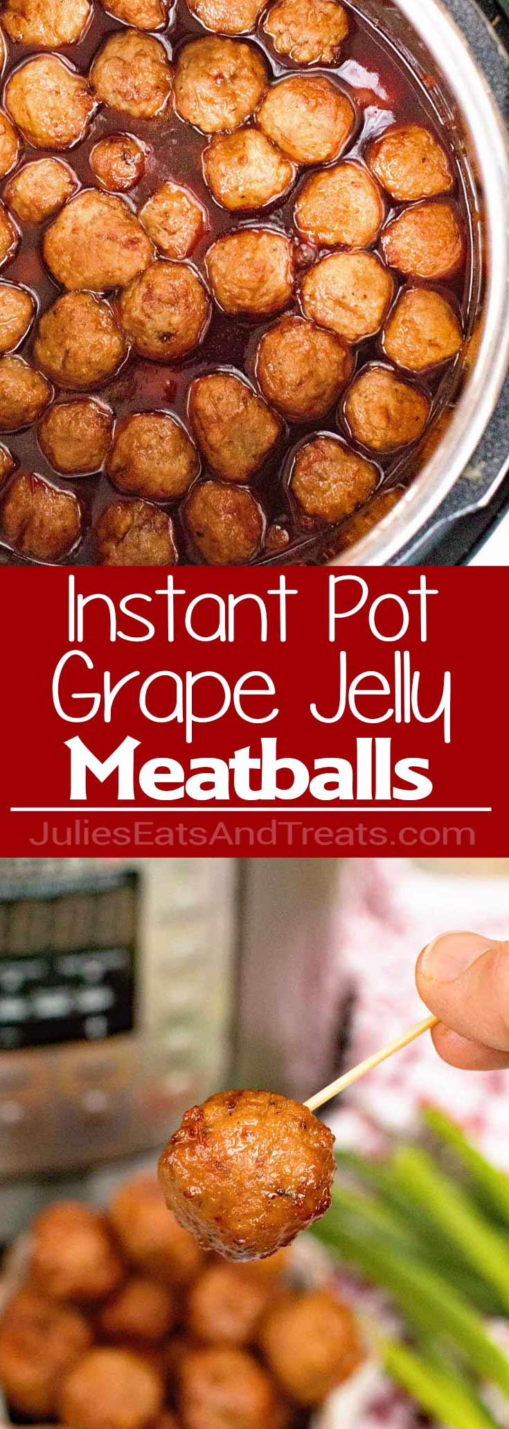 Pressure Cooker {Instant Pot} Grape Jelly Meatballs – These easy to make, traditional, meatballs with grape jelly and chili sauce are perfect for parties and game day gatherings!