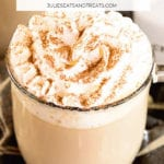 White chocolate latte in a glass mug topped with whipped cream and cinnamon