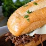 Pinterest Image for Instant Pot French Dip Sandwich