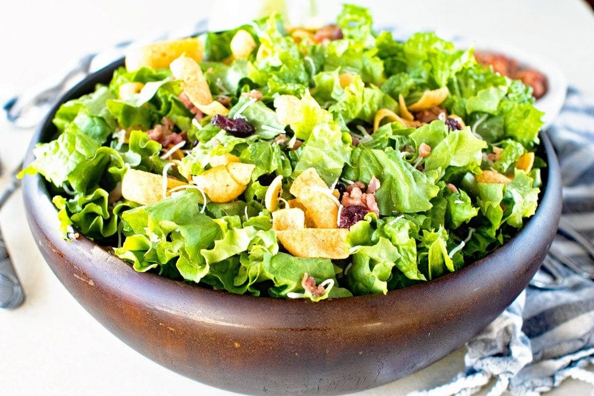 Frito Salad Recipe in brown bowl