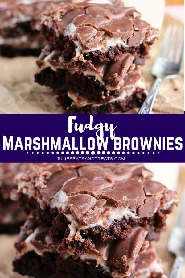 Collage with top image of three brownies stacked on a table, middle banner with text reading fudgy marshmallow brownies, and bottom image close up of fudgy brownies