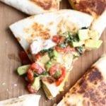 Mexican breakfast quesadillas with avocado salsa