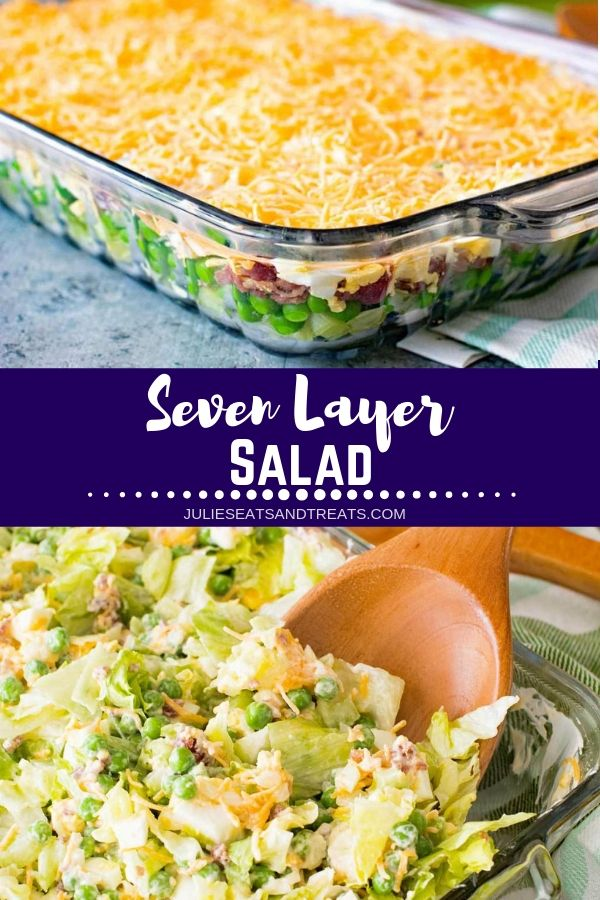 Collage with top image of a glass casserole dish of seven layer salad, middle banner with text reading seven layer salad, and bottom image of a wood spoon scooping out salad