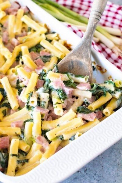 Spinach Ham Pasta Casserole