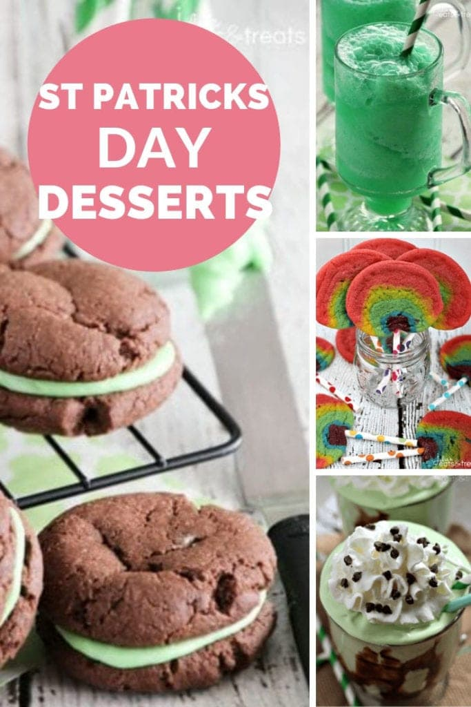 Collage with images of cookies and frozen drinks with a pink circle in the top left corner that has white text reading st patricks day desserts
