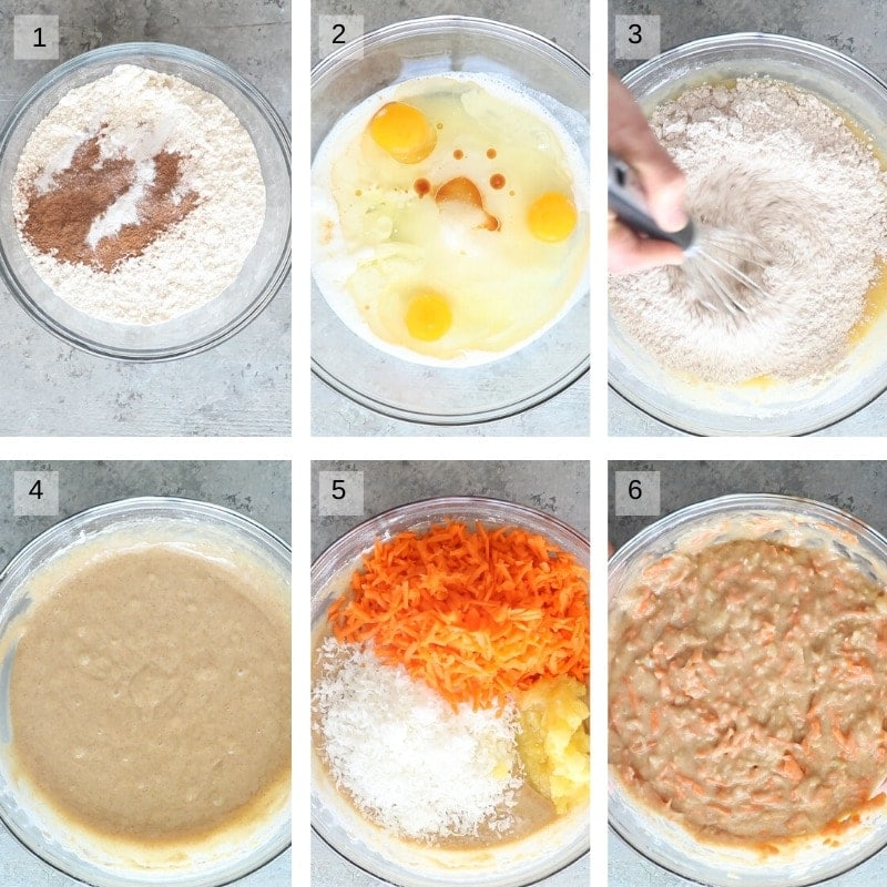 Six Images showing how to mix batter for arrot poke cake
