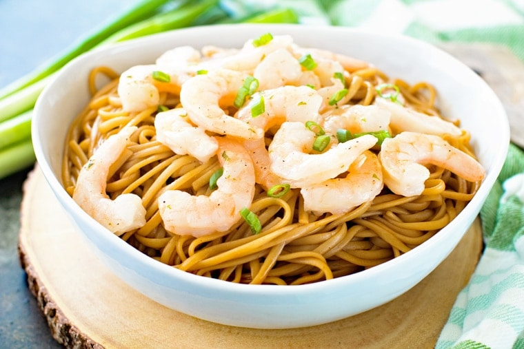 Asian shrimp scampi with noodles
