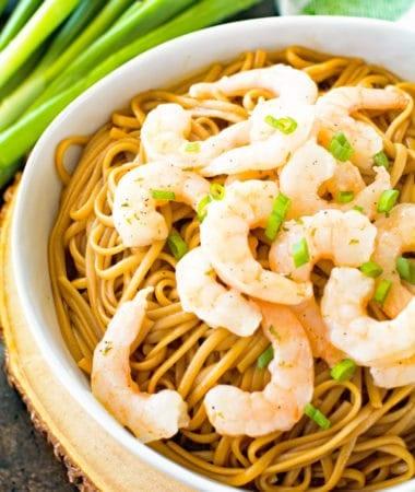 Asian Shrimp Scampi in white bowl