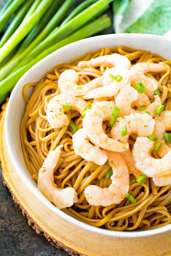 Asian Shrimp Scampi in white bowl