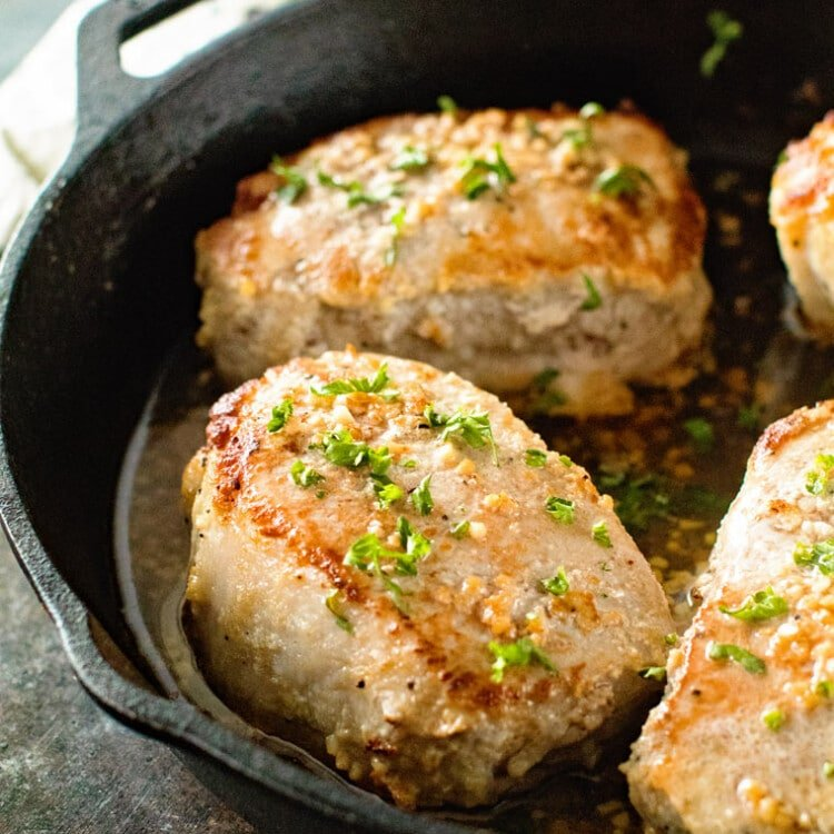 baked pork chops in cast iron skillet