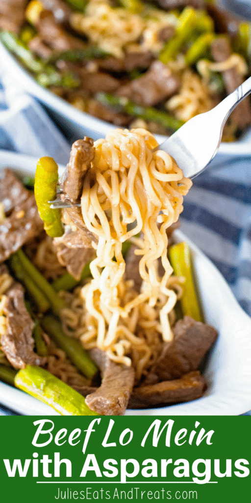 Beef Lo Mein with asparagus on a fork