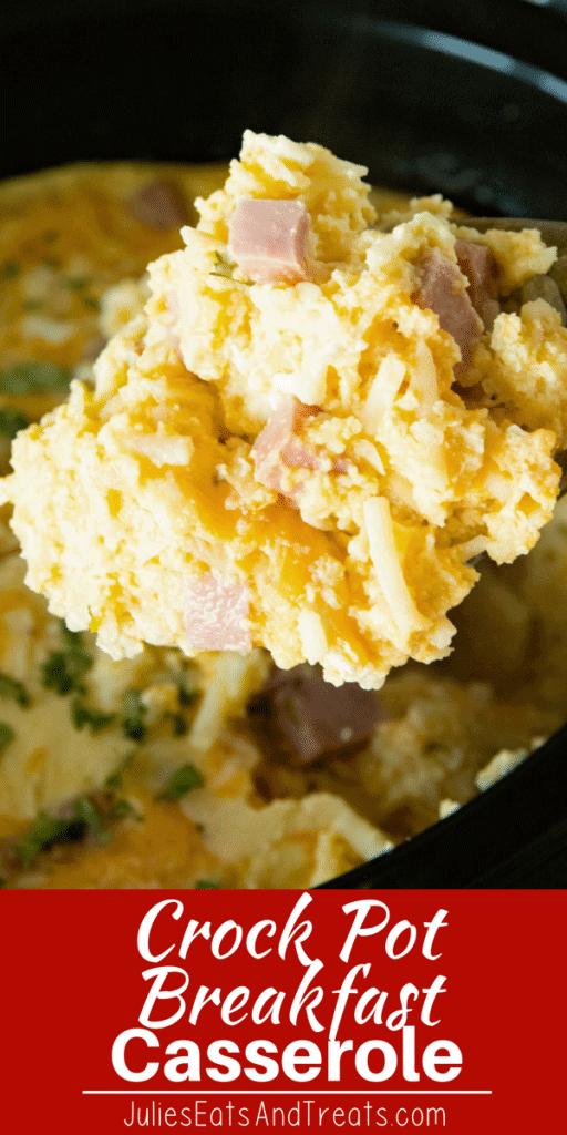Spoon with a scoop of crock pot breakfast casserole