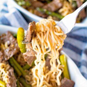 Bite of Ramen Beef Lo Mein on a fork