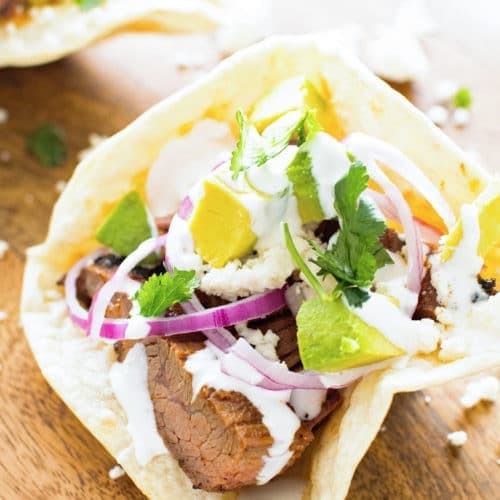 Flank Steak in homemade taco bowl