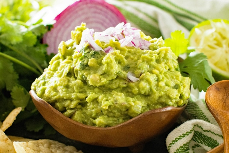 Brown Bowl with Guacamole in it