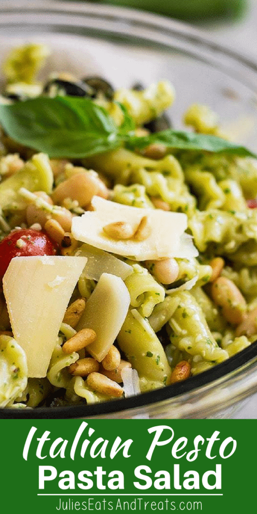 Italian pesto pasta salad in a glass bowl