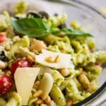 Close up of Italian Pesto Pasta Salad in a bowl.