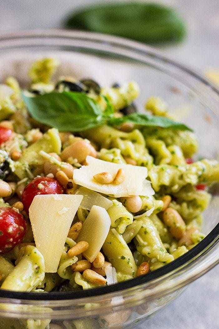 Close up of Cold Pesto Pasta Salad in a bowl.