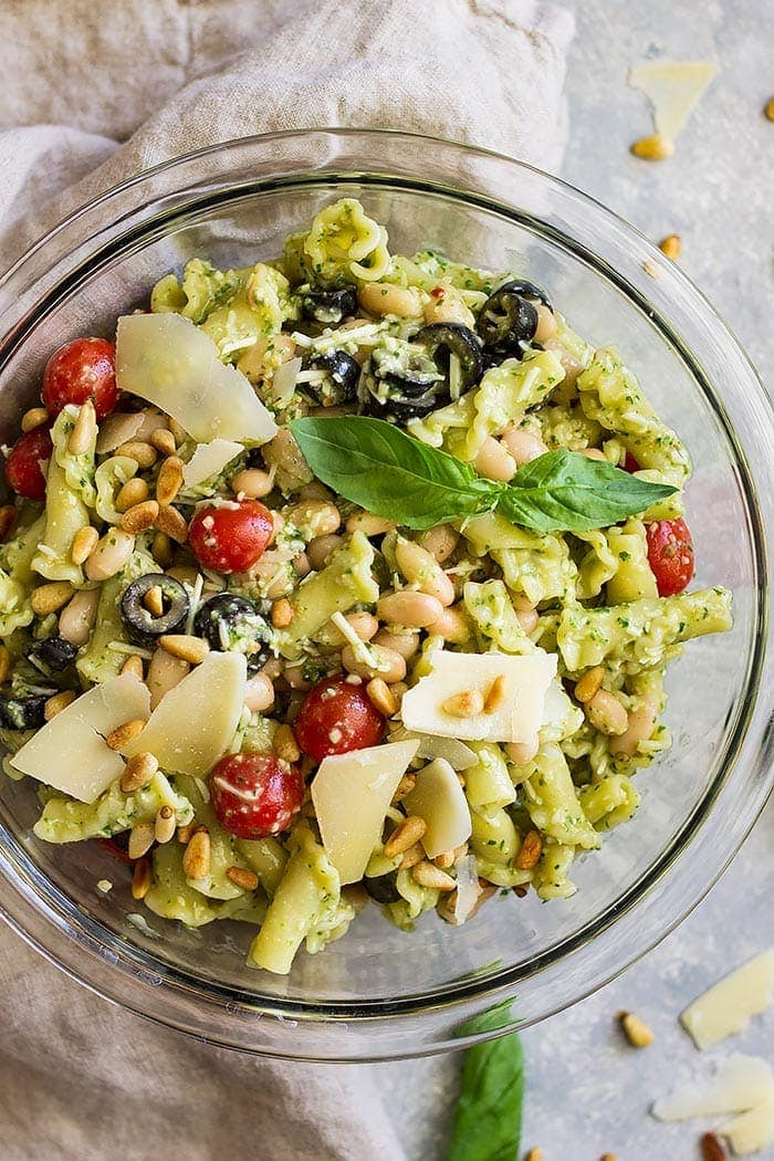 Top down view of Cold Pesto Pasta Salad.