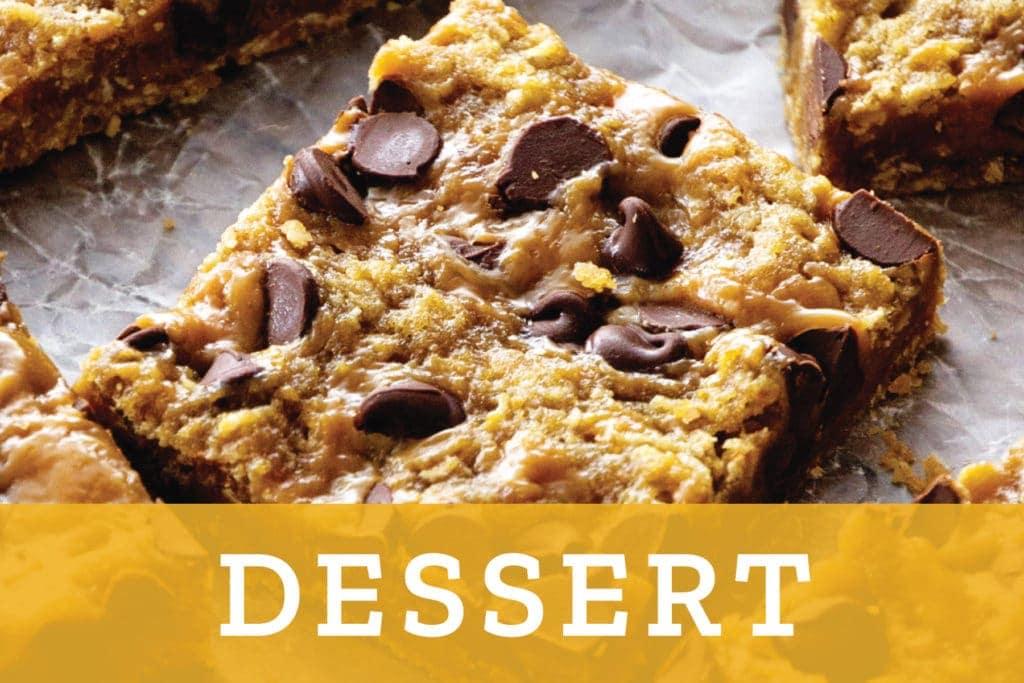 Dessert Overlay over caramel chocolate bars