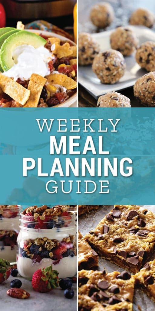 Collage of four pictures of taco soup, energy bites, bars, and breakfast parfaits with text reading weekly meal planning guide