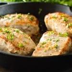 Baked Pork Chops in skillet