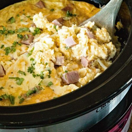 Breakfast Casserole with Ham in Crock Pot