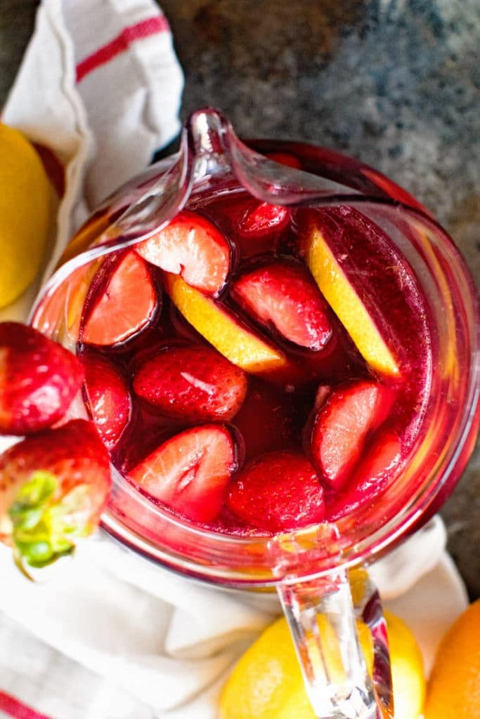 red sangria in pitcher overhead