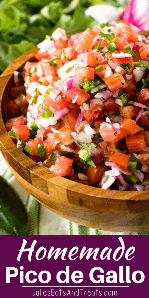 Pico de Gallo in a wood bowl