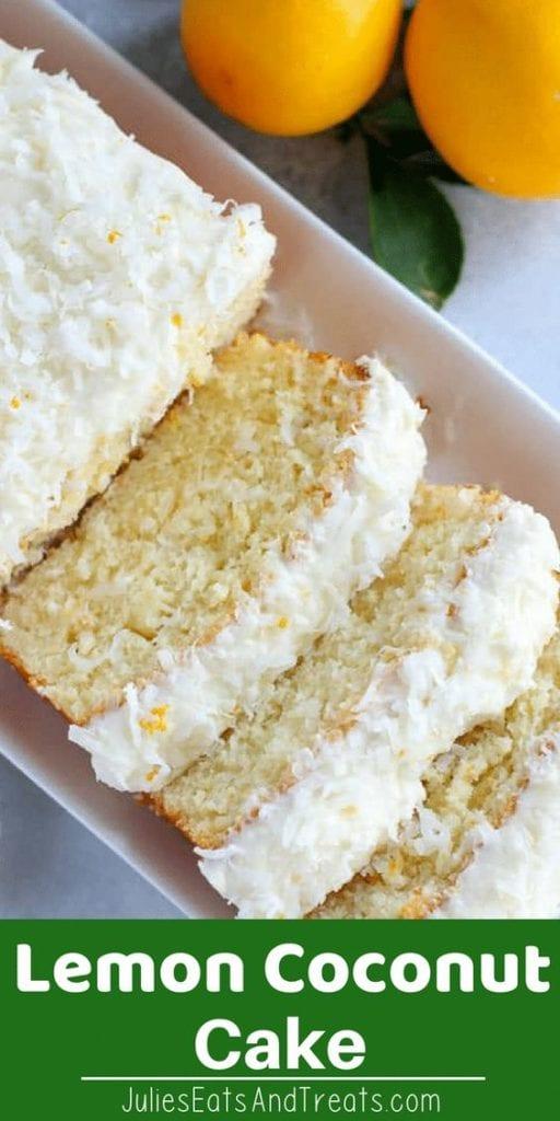 Lemon coconut cake sliced on a white tray