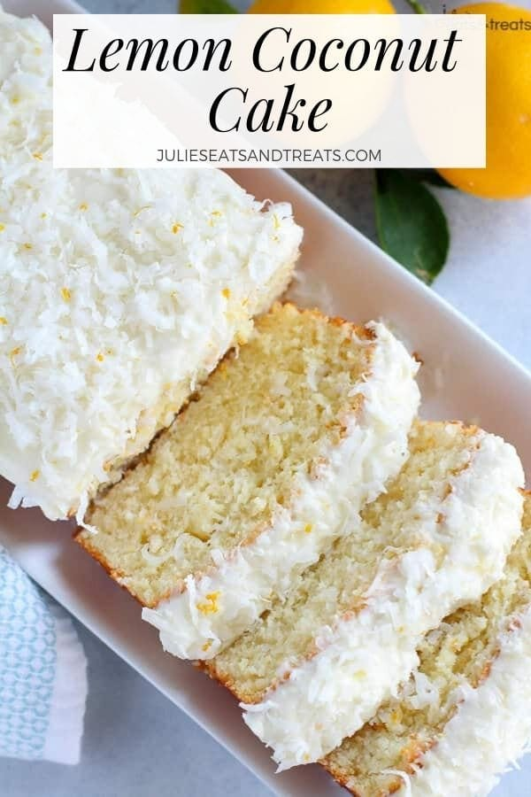 Slices of lemon coconut cake on a white tray