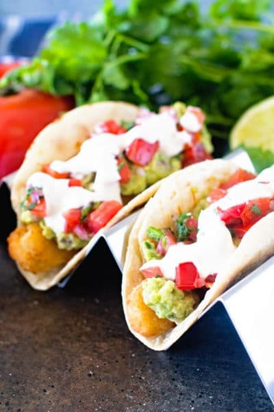 Mexican Fish Tacos in stand