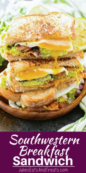 Breakfast Sandwich Pinterest Collage Image