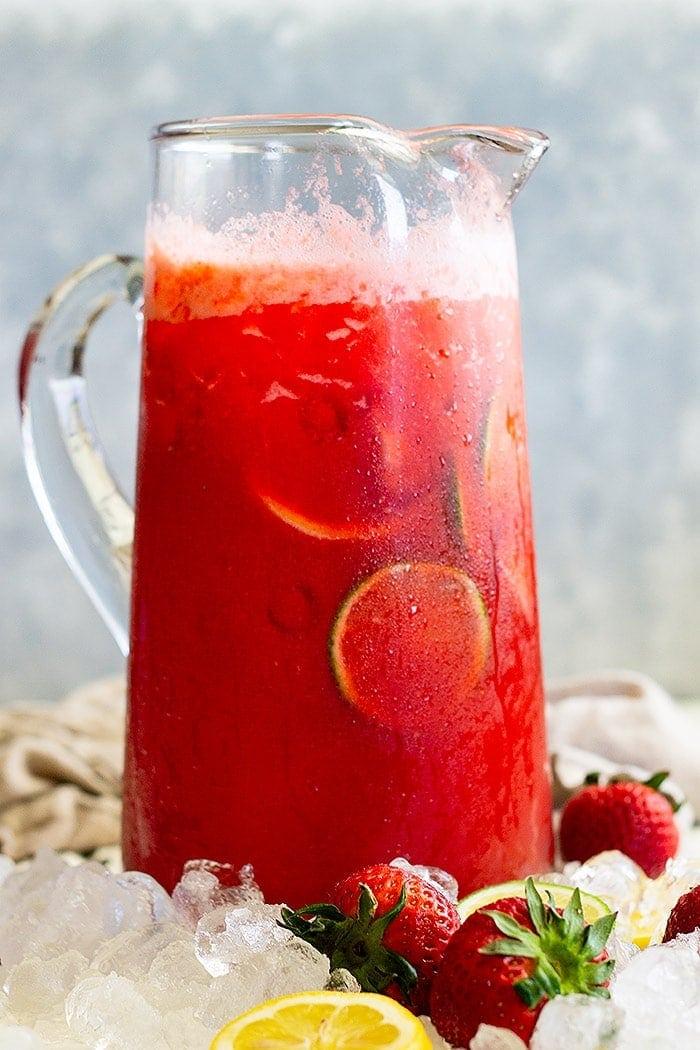 Strawberry Lemonade Margarita in pitcher