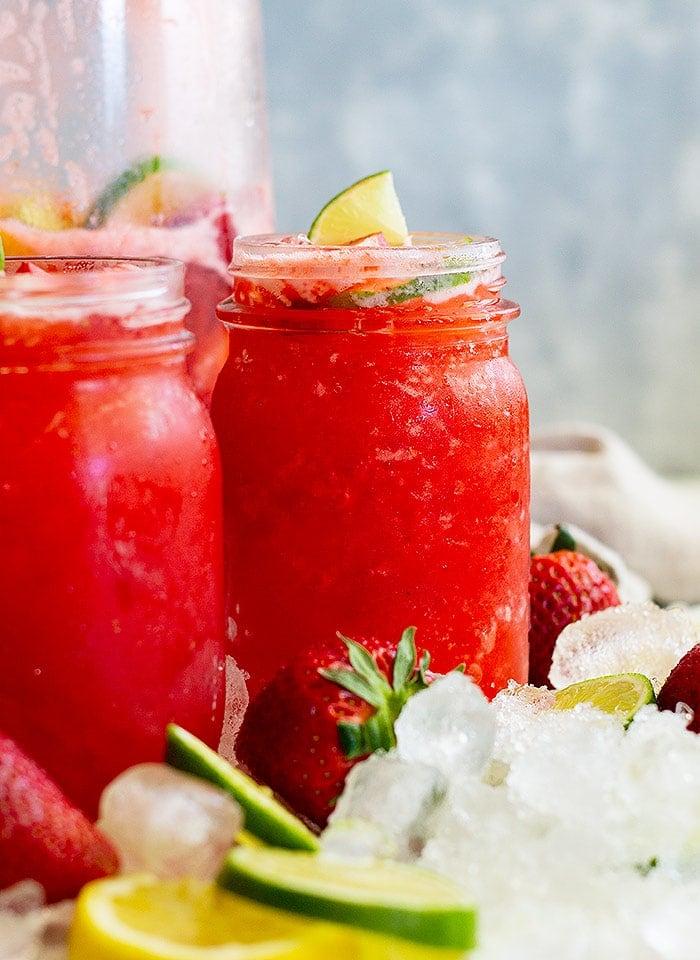 Lemonade Margarita with Strawberries in Mason Jars