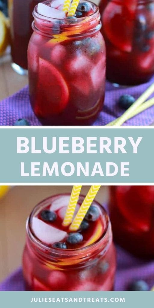 Collage with top image of a mason jar of blueberry lemonade, middle blue banner with white text reading blueberry lemonade, and bottom image close up of the rim of a mason jar with blueberry lemonade, ice, blueberries, a lemon wedge, and two yellow straws in it