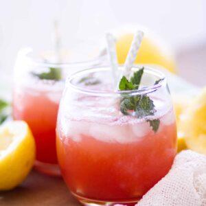 easy watermelon lemonade with mint in short glasses