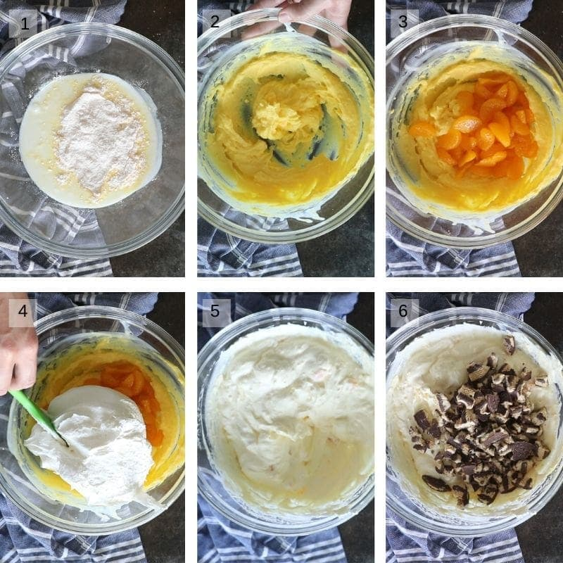 Collage of 6 images showing how to make cookie salad