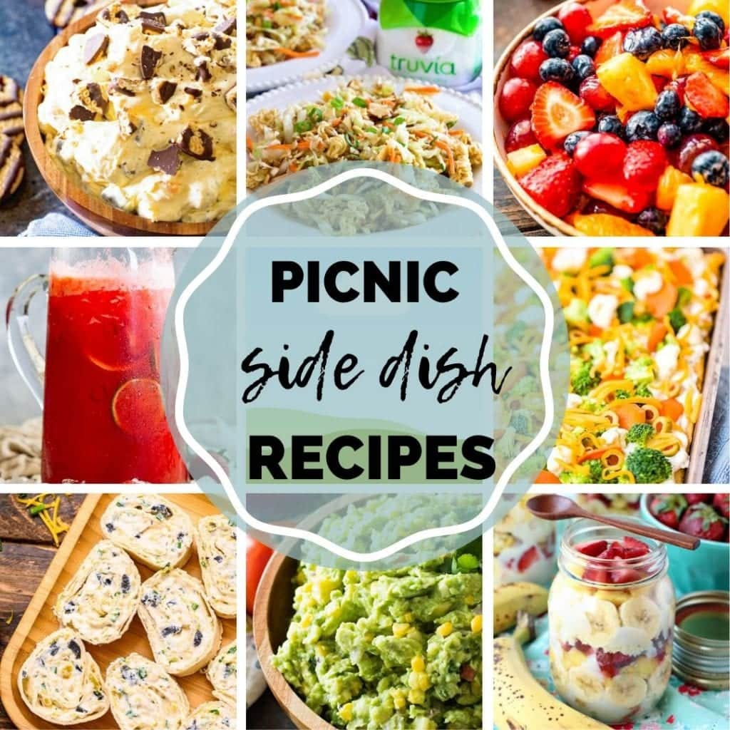 Square Collage of images featuring side dish picnic recipes