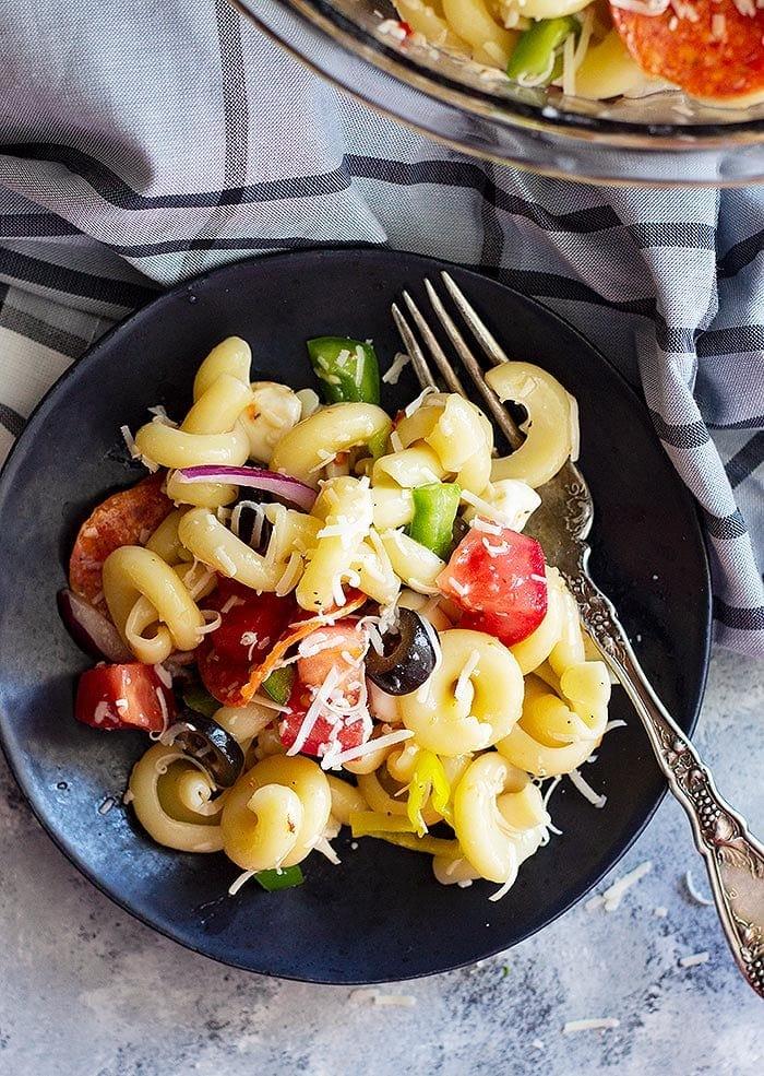 Cold Pasta Salad in Black Bowl