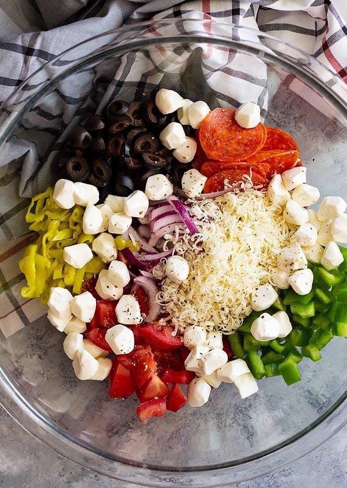 Pepperoni Pasta Salad Ingredients in Glass Bowl