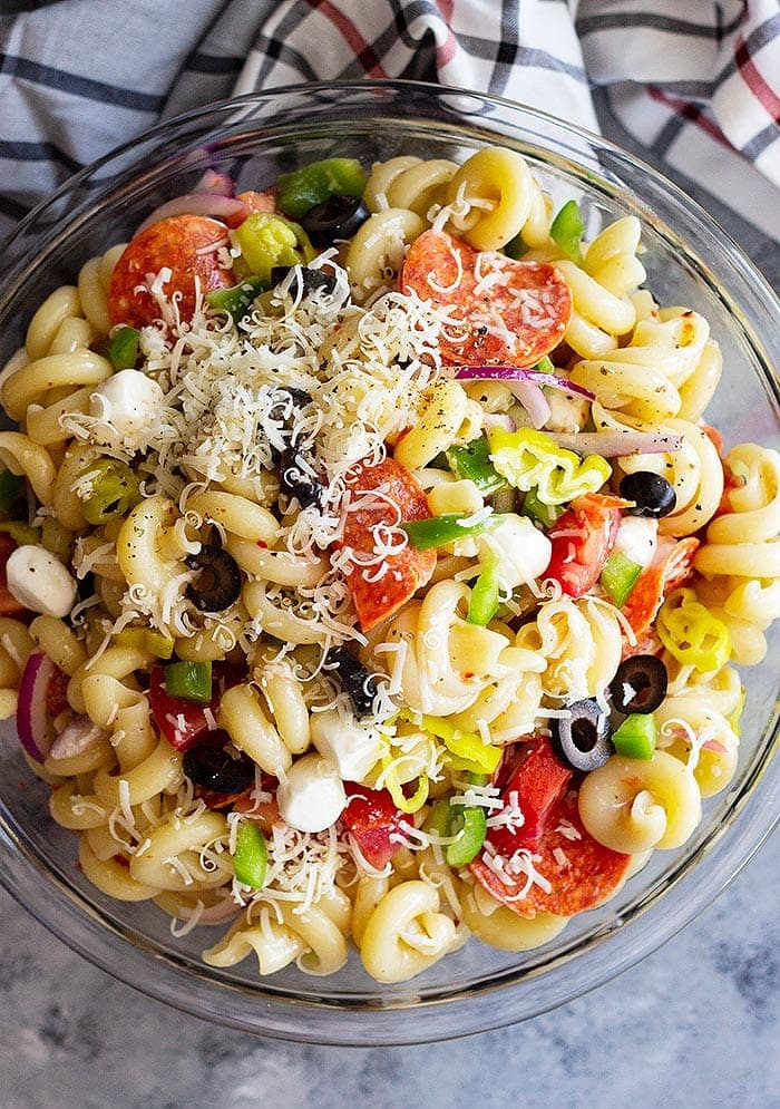 Cold Pasta Salad in Glass Bowl