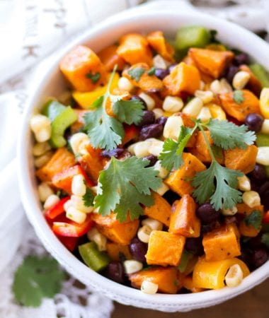 Southwestern sweet potato salad in a white bowl