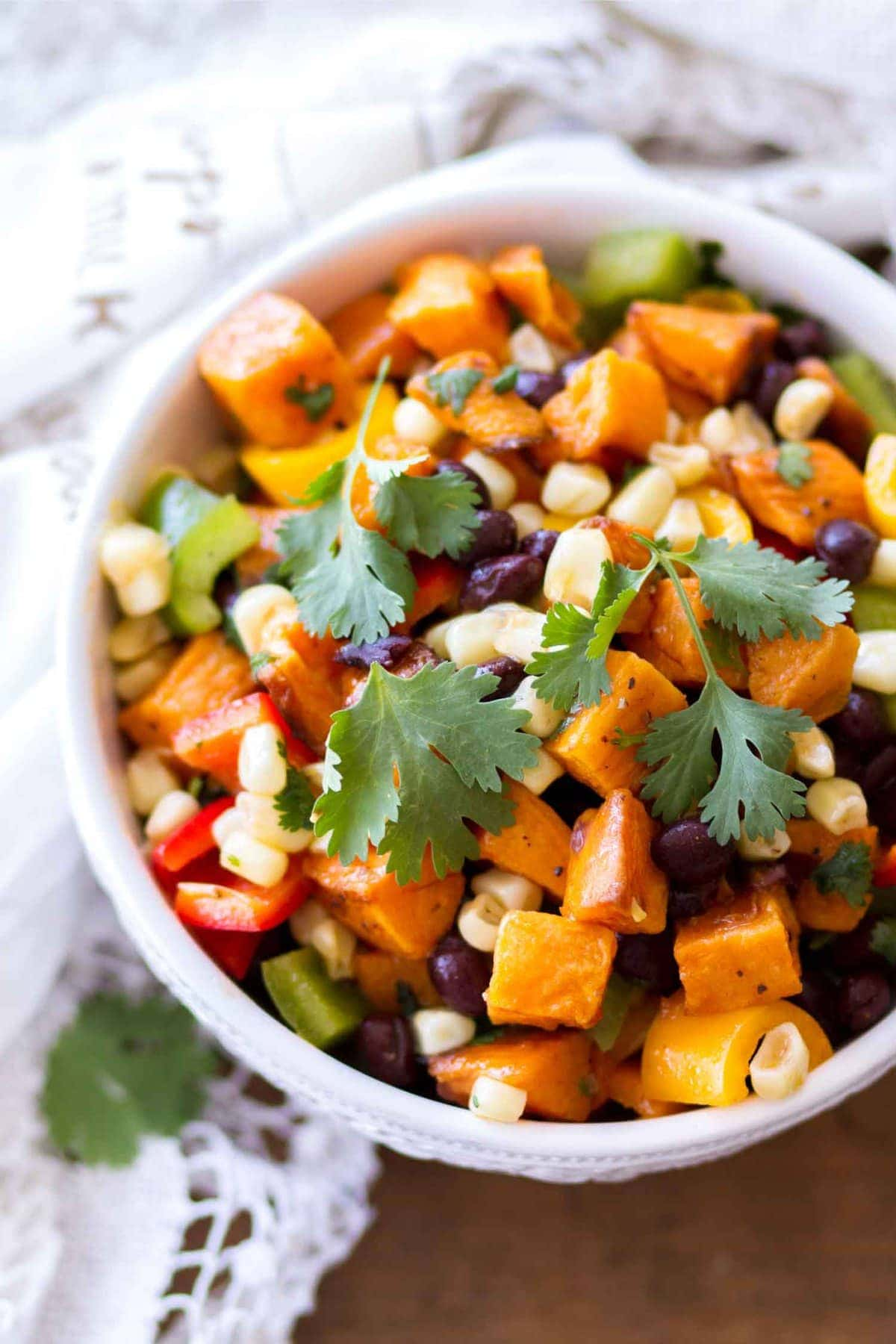 Sweet Potato Salad in White Bowl