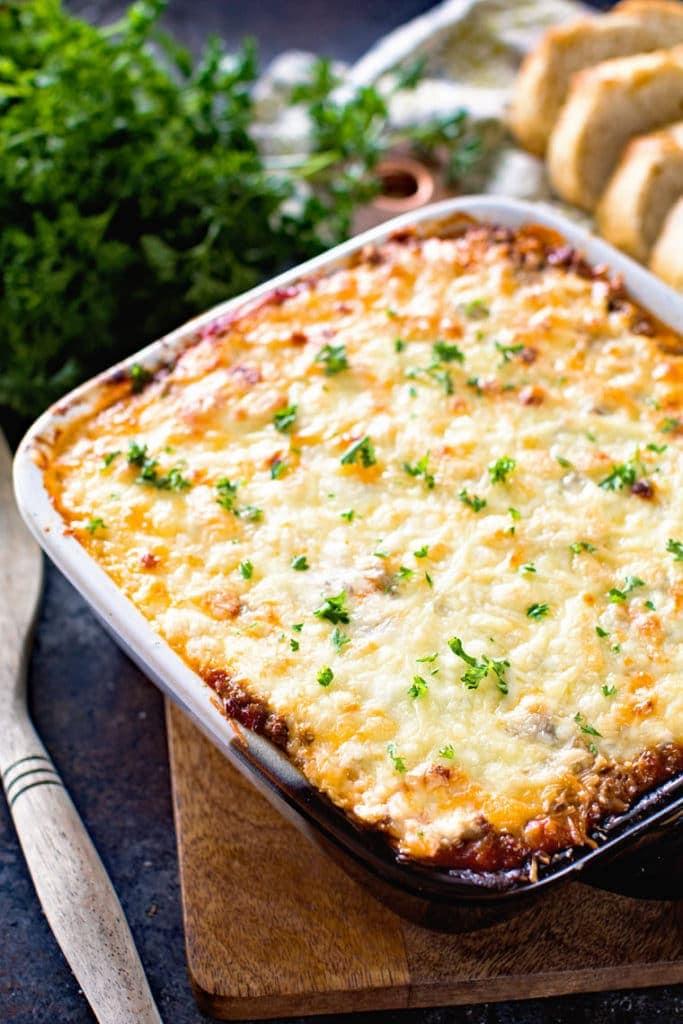 Overhead of spaghetti squash lasagna recipe